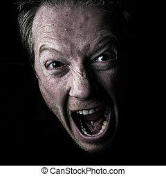 Self Portrait - Man Shouting, screaming in anger