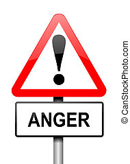 Anger warning, - Illustration depicting a red and white...