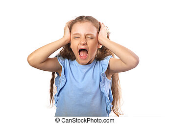 Anger young studing kid girl strong screaming with open mouth and holding head the hands isolated on white background