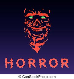 Anger zombie face in red color. Vector illustration.