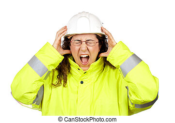 Angered female construction worker over a white background