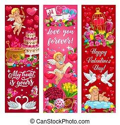 anges, jour, cœurs, valentin, amour, fleurs