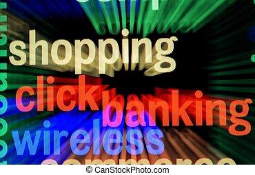 angeschlossenes bankwesen, und, shoppen