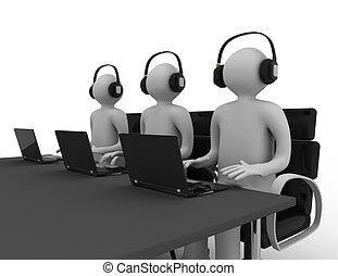 angestellte, anruf- mitte, arbeitende