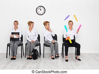 angestellte, mit, besondere, fähigkeiten, gewollt, -, bewerbungsgespräch, kandidaten