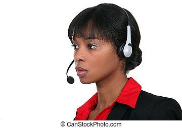 angestellter, anruf- mitte