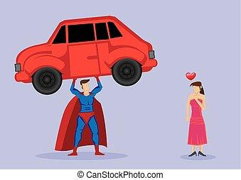 angezogen, frau, superhero, starke