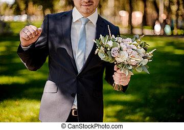 angezogene , klage, bräutigam, wedding, lächeln, blumen