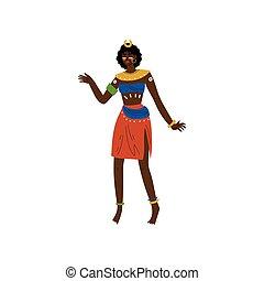 angezogene , stammes-, ethnisch, eingeboren, abbildung, traditionelle , hell, vektor, negerin, m�dchen, kleidung