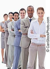 angezogene , workmates, fokus, klagen, ihr, ledig, arme, überfahrt, linie, zuerst, lächelnden mann