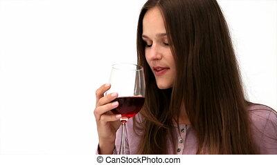 angielka, czerwony, kobieta, picie, szczęśliwy