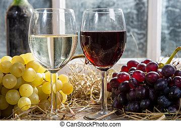 angielki, biały grape, czerwony, butelki, tło