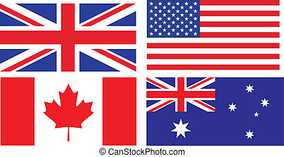 angielski, bandery, rozmawianie, kraje