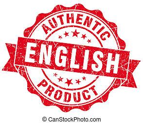 angielski, produkt, czerwony grunge, tłoczyć