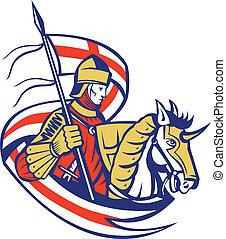 angielski, rycerz, anglia, bandera, tarcza, koń, retro