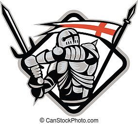 angielski, rycerz, bojowy, miecz, anglia, bandera, retro