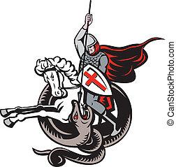 angielski, rycerz, bojowy, smok, anglia, bandera, retro
