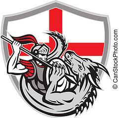 angielski, rycerz, bojowy, smok, anglia, bandera, tarcza, retro