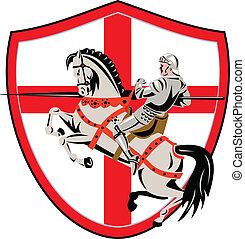 angielski, rycerz, jeździec, koń, anglia, bandera, retro