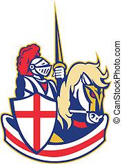 angielski, rycerz, jeździec, koń, anglia, tarcza, retro