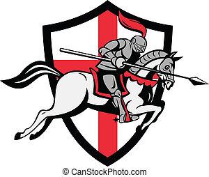 angielski, rycerz, jeżdżenie, koń, anglia, tarcza, retro