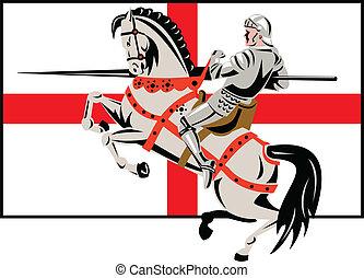 angielski, rycerz, lanca, koń, anglia, bandera, bok, retro