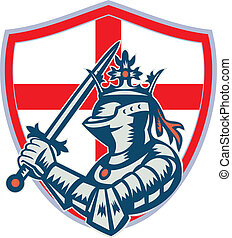 angielski, rycerz, pełny, zbroja, z, miecz, retro