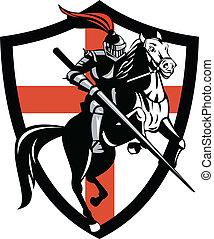 angielski, rycerz, ridiing, koń, anglia, bandera, retro