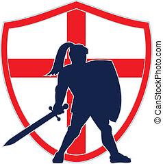 angielski, rycerz, sylwetka, anglia, bandera, retro