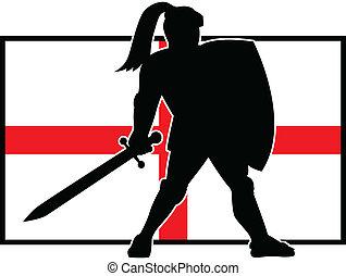angielski, rycerz, tarcza, miecz, anglia, bandera, retro