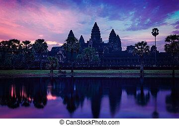 angkor, 日の出, カンボジア人, ランドマーク, ワット, 有名, -