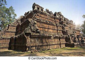 angkor, secolo, vimeanakas), tempio, costruito, indù, mietere, siem, fine, (or, stile, phimeanekas, cambogia, khleang, 10