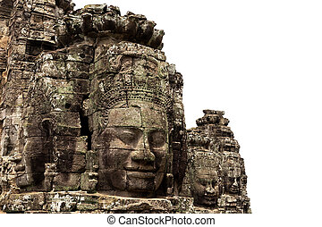 angkor, temple, fond, pierre, ancien, bayon, isolé, figure, wat, récolter, blanc, cambodia., siem