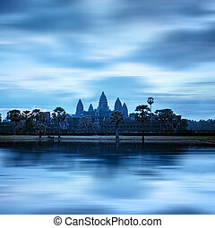 angkor, temple, récolter, siem, sunset., wat, cambodge, thom