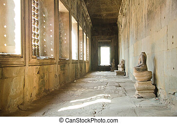 angkor, temple, ruines, piliers, couloir, wat, cambodge, long