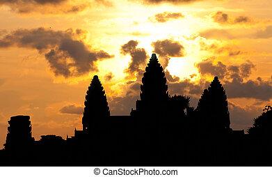 angkor, temple, silhouette, wat