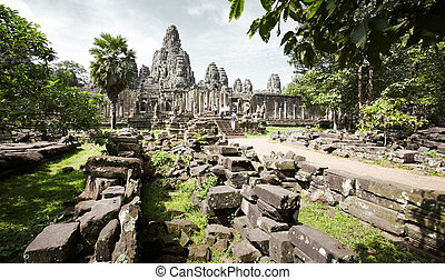 angkor thom - angkor wat of cambodia, famous place of siem...