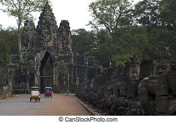 Angkor Thom. Siem Reap. Cambodia - Visitors in Angkor Thom...
