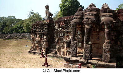 Angkor Thom, Terrace of elephants, Siem Reap, Cambodia -...