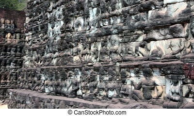 Angkor Thom, terrace of the leprous king, Siem Reap,...