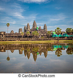 angkor wat, świątynia, kambodża, wschód słońca