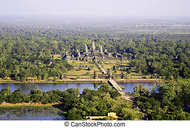 Angkor wat overview from a fire balloon