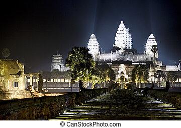 Angkor Wat at Night - Night image of the UNESCO's World...