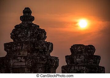Angkor Wat at Sunset. Cambodia. Temples, Ancient Civilization. Asia.