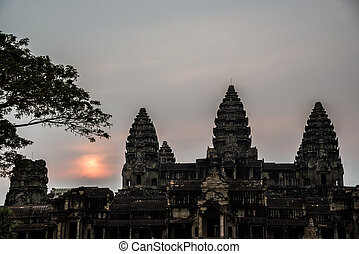 Angkor Wat at Sunset. Cambodia. Temples, Ancient Civilization. Asia. Tradiotion, Culture and Religion.