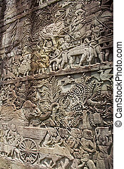 Angkor Wat - Cambodia - Carvings and sculpture in the ruins...