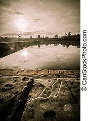 Angkor Wat, Cambodia - Stone murals and sculptures in Angkor...