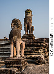Angkor Wat Entrance Guardian Lions Sculpture. Tradition, Culture, Religion.  Cambodia, ASia.