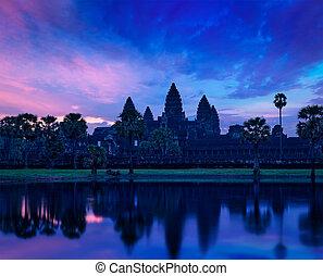 angkor wat, sławny, kambodżanin, punkt orientacyjny, na, wschód słońca
