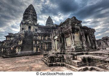 angkor wat, -, sławny punkt orientacyjny, od, kambodża
